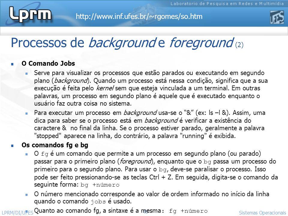 http://www.inf.ufes.br/~rgomes/so.htm Sistemas Operacionais LPRM/DI/UFES 48 Processos de background e foreground (2) O Comando Jobs Serve para visuali