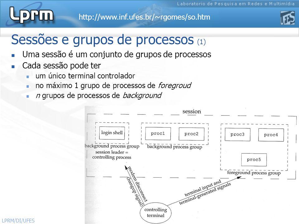 http://www.inf.ufes.br/~rgomes/so.htm Sistemas Operacionais LPRM/DI/UFES 50 Sessões e grupos de processos (1) Uma sessão é um conjunto de grupos de pr