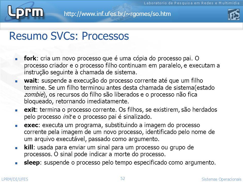 http://www.inf.ufes.br/~rgomes/so.htm Sistemas Operacionais LPRM/DI/UFES 52 Resumo SVCs: Processos fork: cria um novo processo que é uma cópia do proc