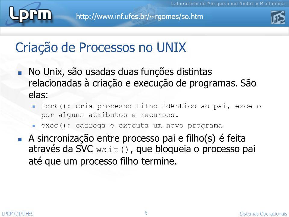 http://www.inf.ufes.br/~rgomes/so.htm Sistemas Operacionais LPRM/DI/UFES 6 Criação de Processos no UNIX No Unix, são usadas duas funções distintas rel