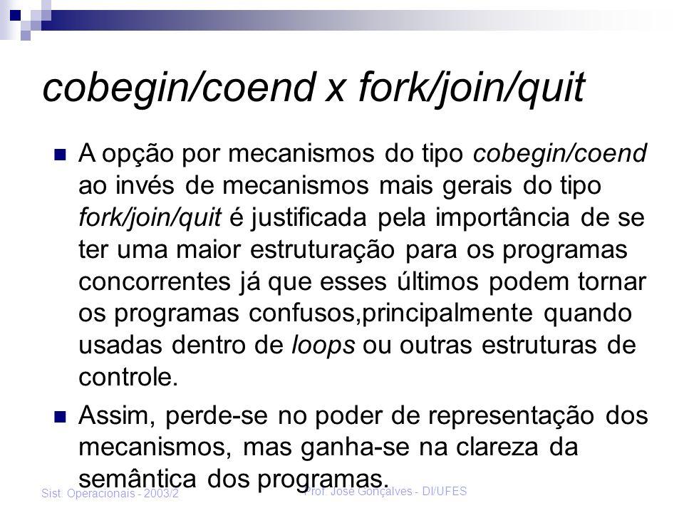 Prof. José Gonçalves - DI/UFES Sist. Operacionais - 2003/2 cobegin/coend x fork/join/quit A opção por mecanismos do tipo cobegin/coend ao invés de mec