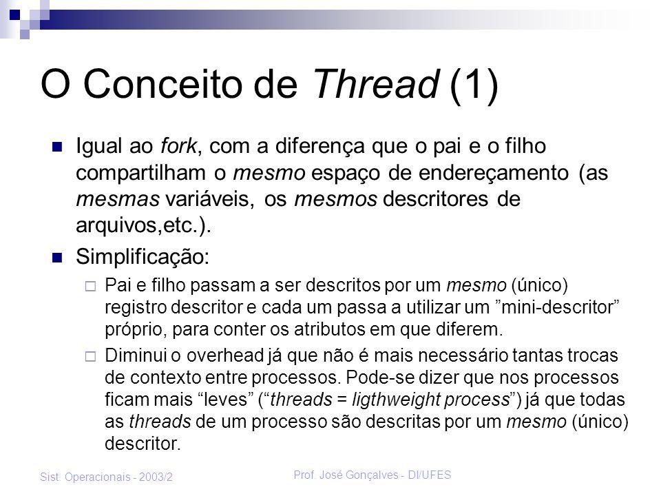 Prof. José Gonçalves - DI/UFES Sist. Operacionais - 2003/2 O Conceito de Thread (1) Igual ao fork, com a diferença que o pai e o filho compartilham o
