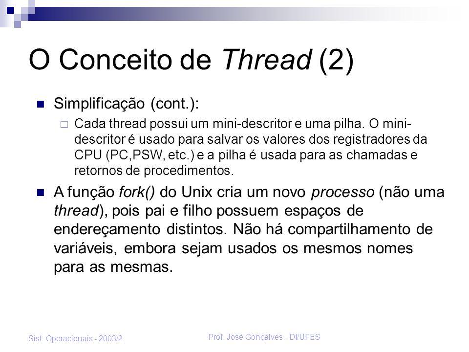 Prof. José Gonçalves - DI/UFES Sist. Operacionais - 2003/2 O Conceito de Thread (2) Simplificação (cont.): Cada thread possui um mini-descritor e uma