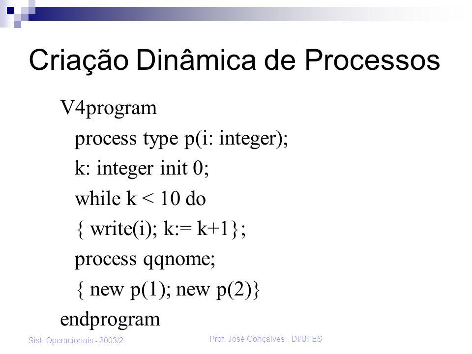 Prof. José Gonçalves - DI/UFES Sist. Operacionais - 2003/2 Criação Dinâmica de Processos V4program process type p(i: integer); k: integer init 0; whil