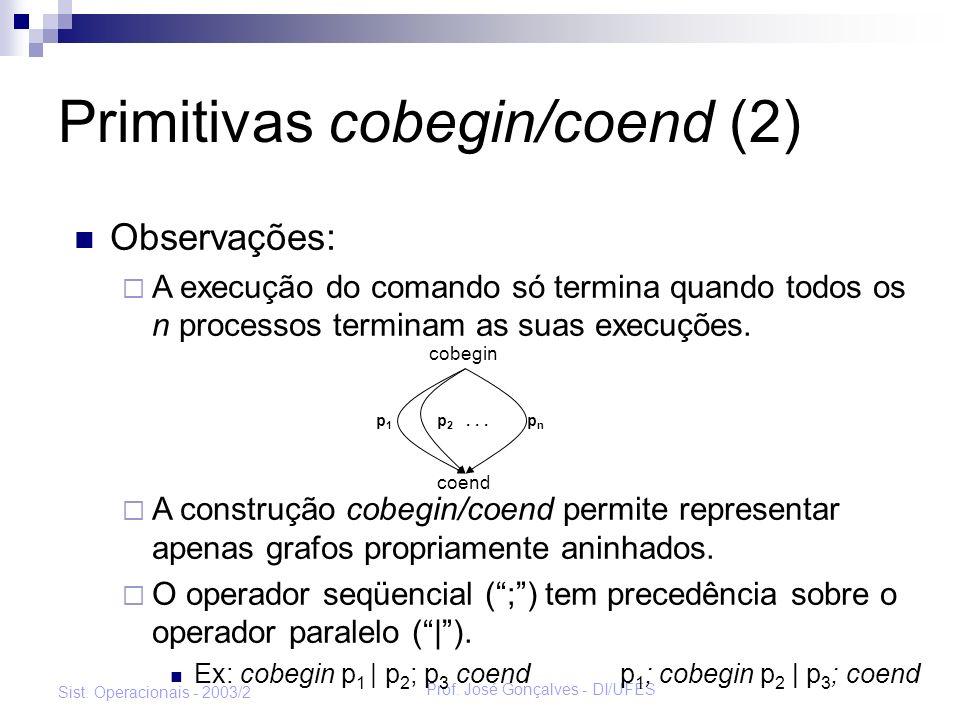 Prof. José Gonçalves - DI/UFES Sist. Operacionais - 2003/2 Primitivas cobegin/coend (2) Observações: A execução do comando só termina quando todos os