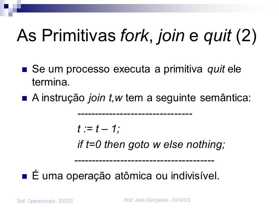 Prof. José Gonçalves - DI/UFES Sist. Operacionais - 2003/2 As Primitivas fork, join e quit (2) Se um processo executa a primitiva quit ele termina. A