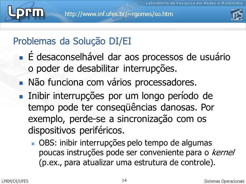 http://www.inf.ufes.br/~rgomes/so.htm Sistemas Operacionais LPRM/DI/UFES 14 Problemas da Solução DI/EI É desaconselhável dar aos processos de usuário