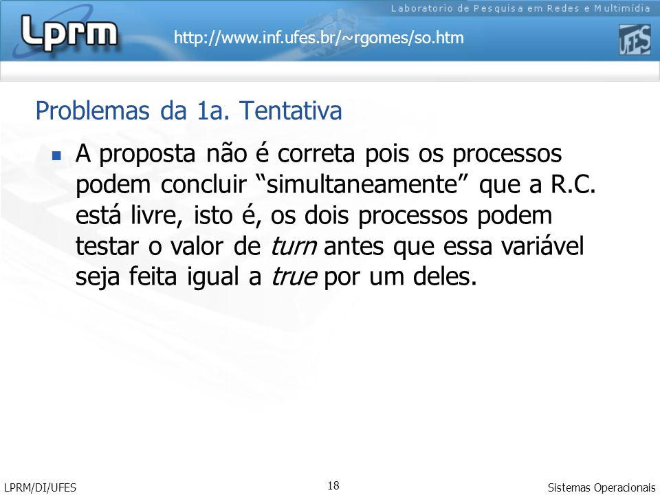 http://www.inf.ufes.br/~rgomes/so.htm Sistemas Operacionais LPRM/DI/UFES 18 Problemas da 1a. Tentativa A proposta não é correta pois os processos pode