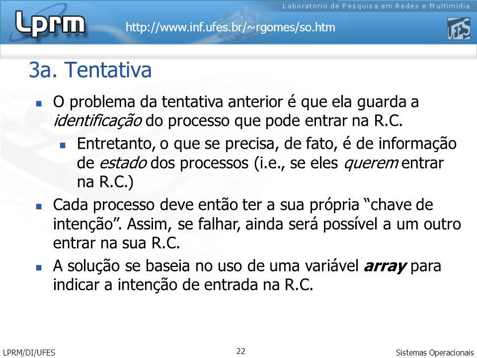 http://www.inf.ufes.br/~rgomes/so.htm Sistemas Operacionais LPRM/DI/UFES 22 3a. Tentativa O problema da tentativa anterior é que ela guarda a identifi