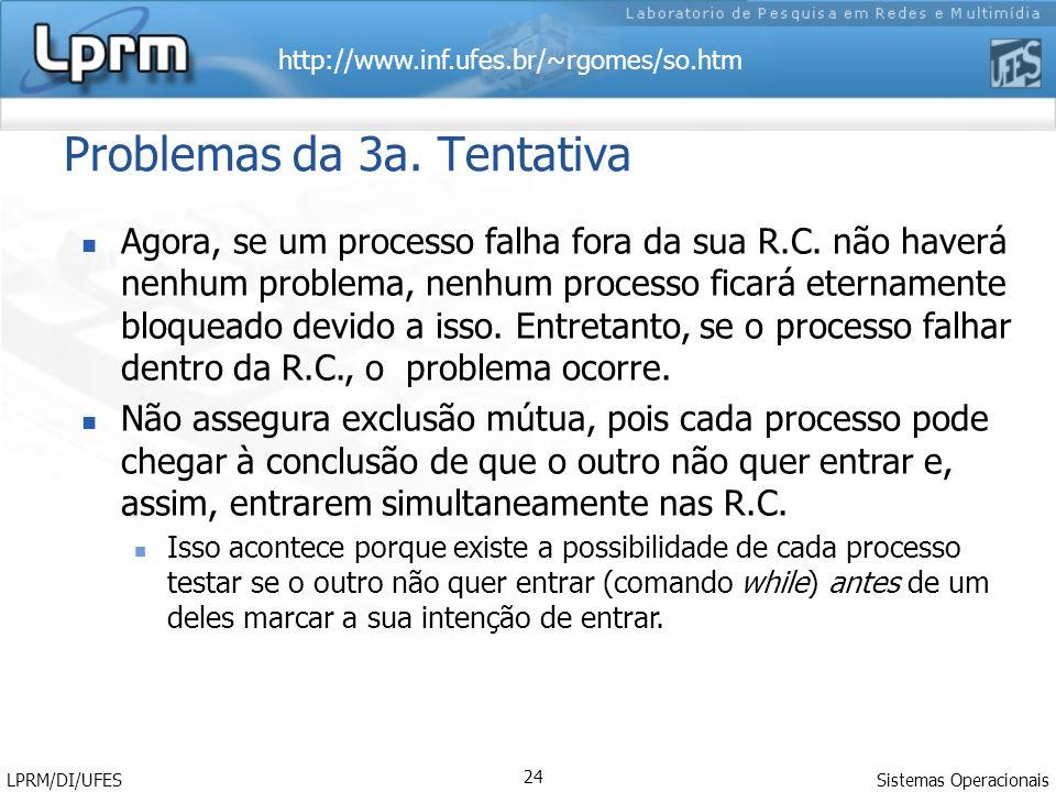 http://www.inf.ufes.br/~rgomes/so.htm Sistemas Operacionais LPRM/DI/UFES 24 Problemas da 3a. Tentativa Agora, se um processo falha fora da sua R.C. nã
