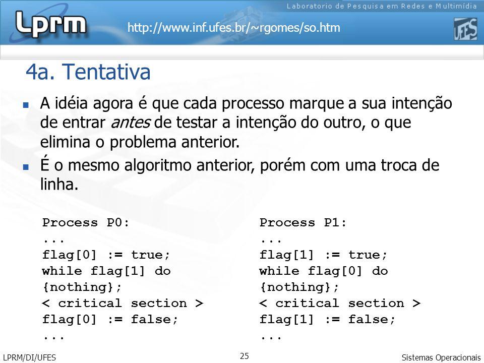 http://www.inf.ufes.br/~rgomes/so.htm Sistemas Operacionais LPRM/DI/UFES 25 4a. Tentativa A idéia agora é que cada processo marque a sua intenção de e