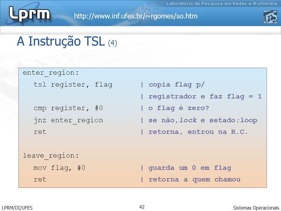 http://www.inf.ufes.br/~rgomes/so.htm Sistemas Operacionais LPRM/DI/UFES 42 A Instrução TSL (4)