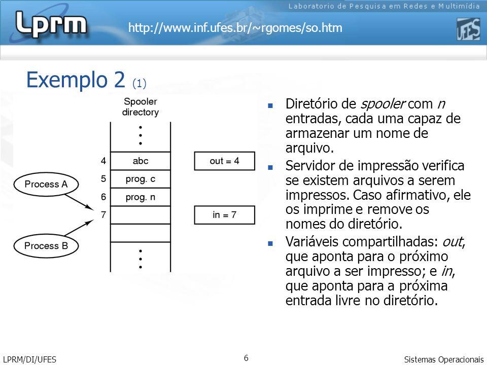 http://www.inf.ufes.br/~rgomes/so.htm Sistemas Operacionais LPRM/DI/UFES 6 Exemplo 2 (1) Diretório de spooler com n entradas, cada uma capaz de armaze