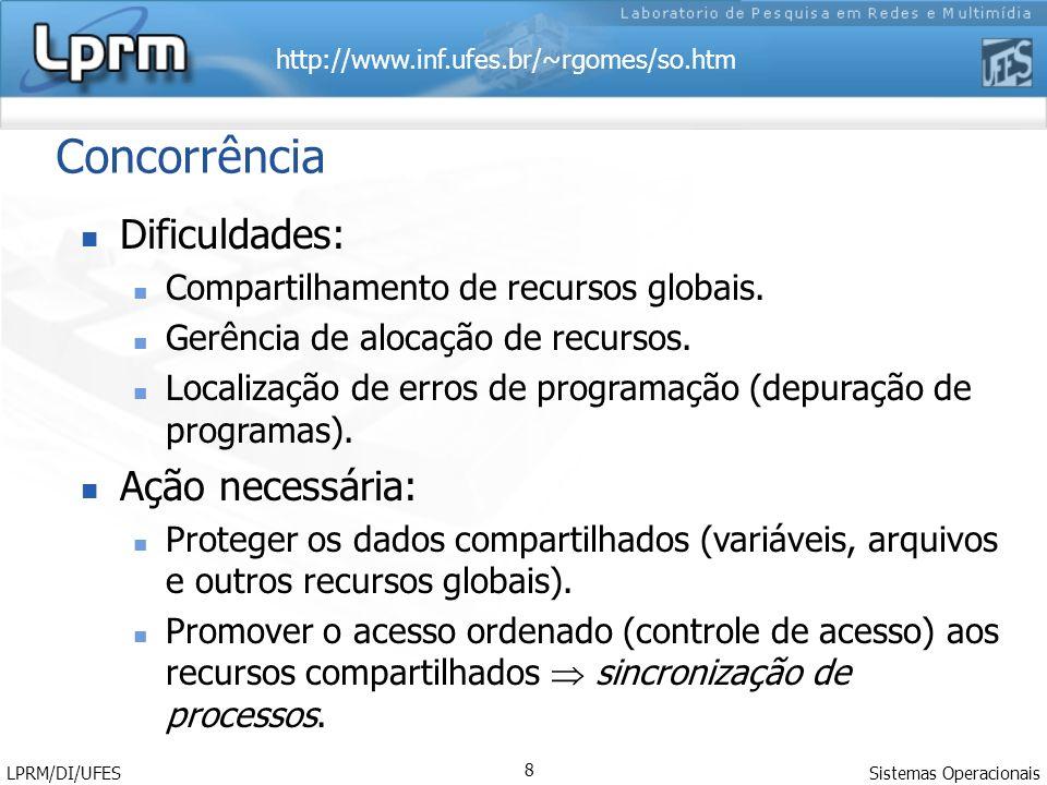 http://www.inf.ufes.br/~rgomes/so.htm Sistemas Operacionais LPRM/DI/UFES 8 Concorrência Dificuldades: Compartilhamento de recursos globais. Gerência d