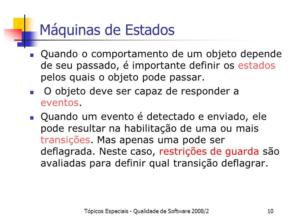 Tópicos Especiais - Qualidade de Software 2008/210 Máquinas de Estados Quando o comportamento de um objeto depende de seu passado, é importante defini