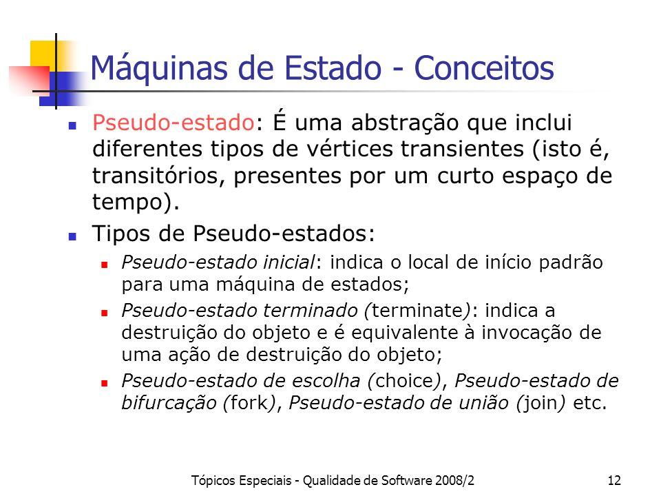 Tópicos Especiais - Qualidade de Software 2008/212 Máquinas de Estado - Conceitos Pseudo-estado: É uma abstração que inclui diferentes tipos de vértic