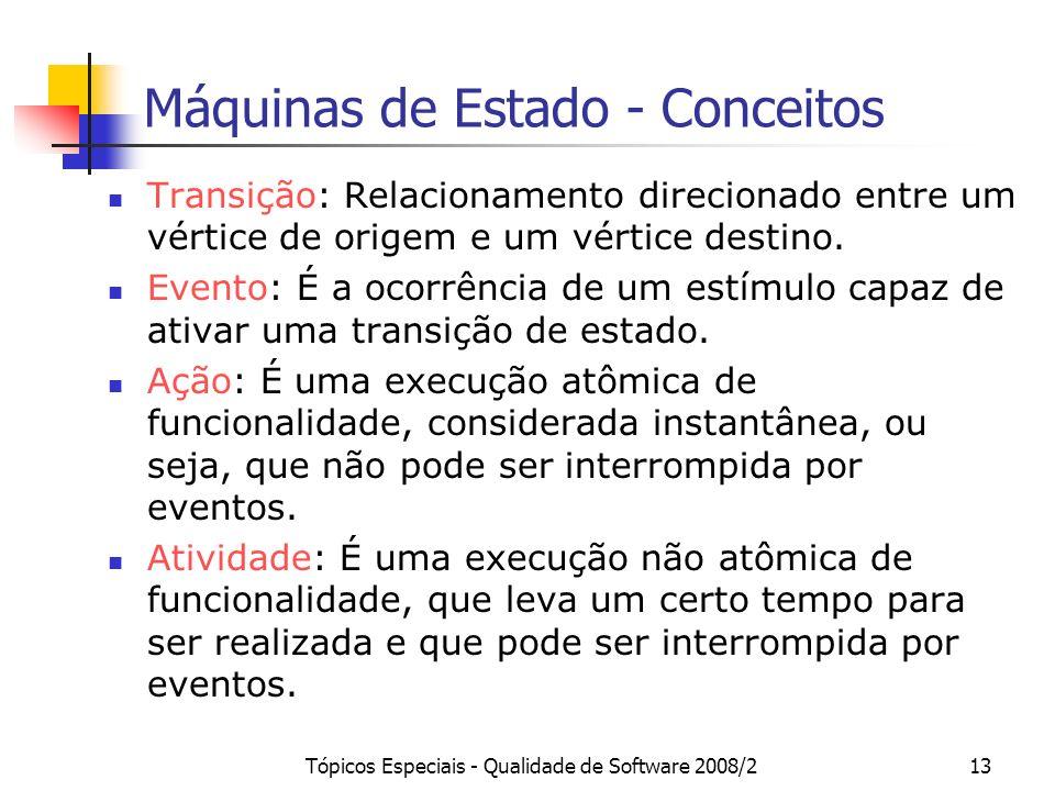 Tópicos Especiais - Qualidade de Software 2008/213 Máquinas de Estado - Conceitos Transição: Relacionamento direcionado entre um vértice de origem e u