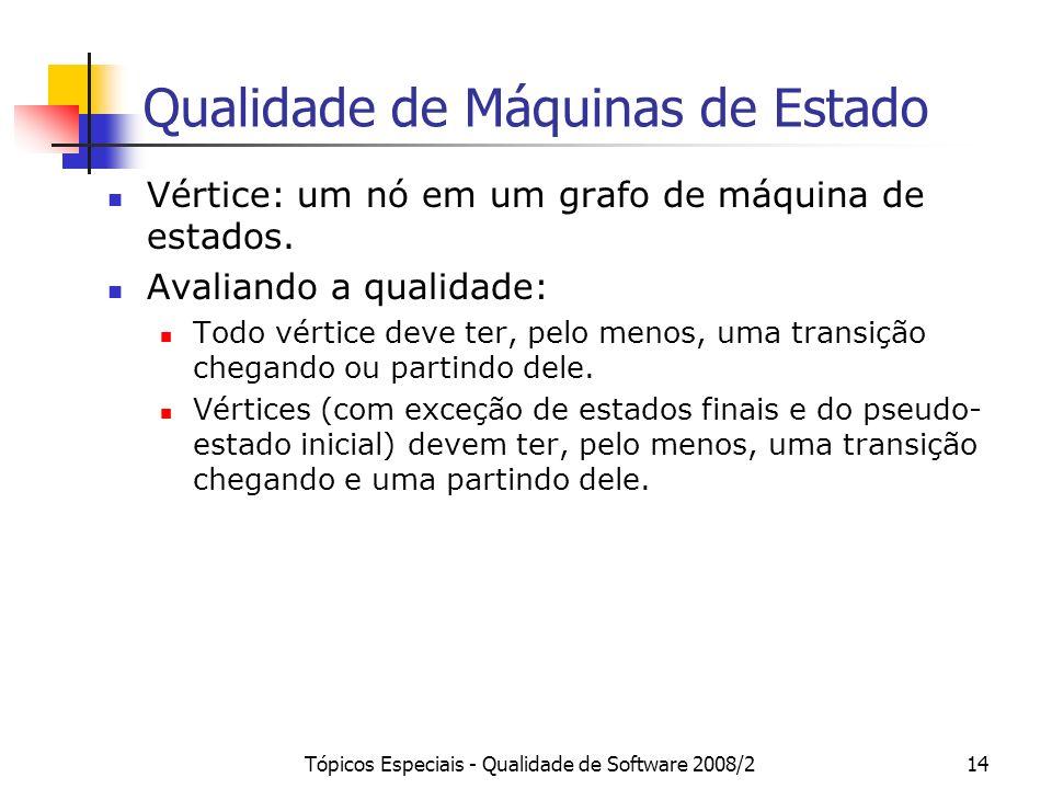 Tópicos Especiais - Qualidade de Software 2008/214 Qualidade de Máquinas de Estado Vértice: um nó em um grafo de máquina de estados. Avaliando a quali