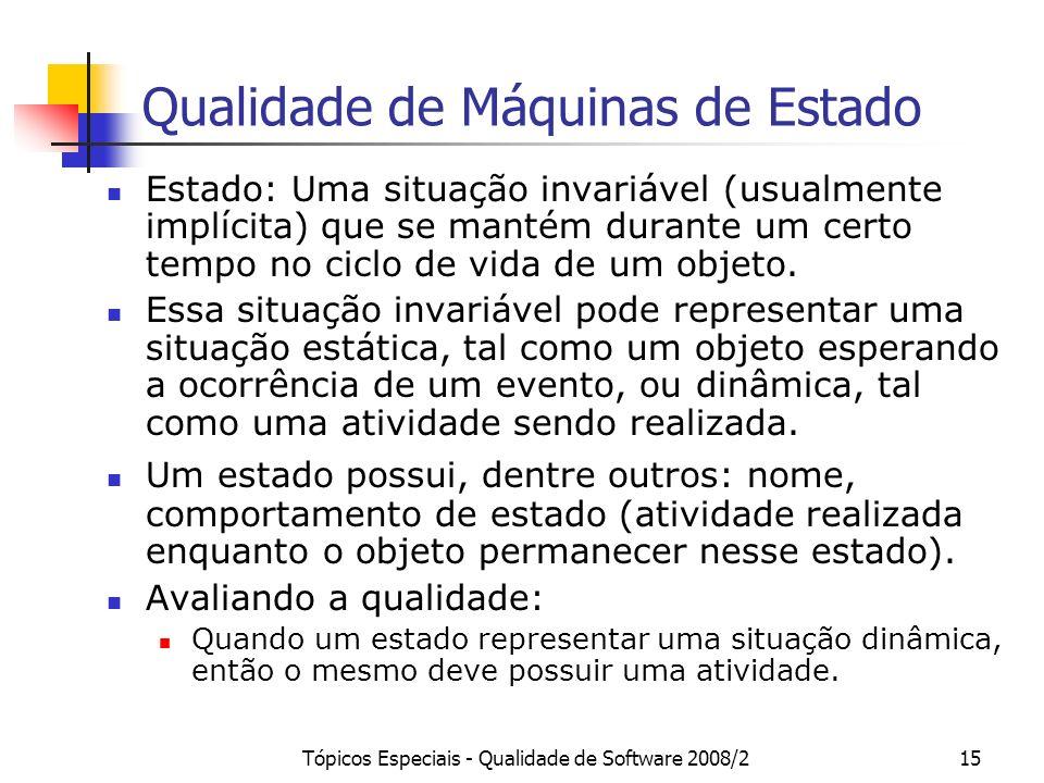 Tópicos Especiais - Qualidade de Software 2008/215 Qualidade de Máquinas de Estado Estado: Uma situação invariável (usualmente implícita) que se manté
