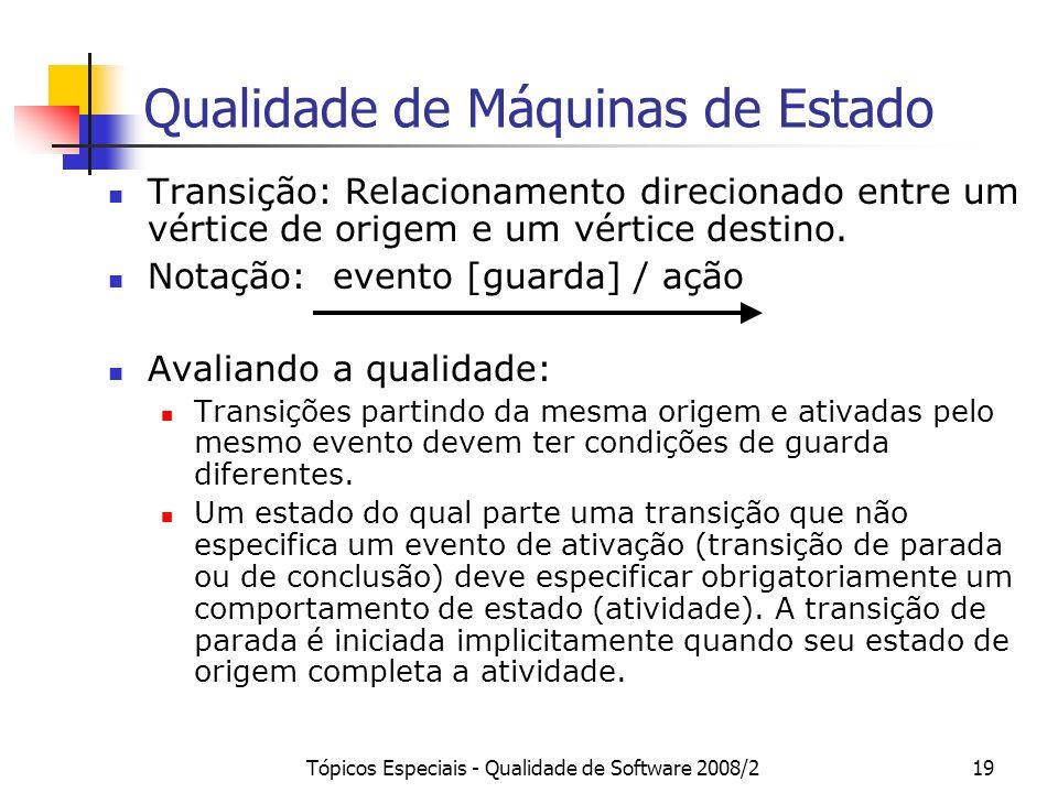 Tópicos Especiais - Qualidade de Software 2008/219 Qualidade de Máquinas de Estado Transição: Relacionamento direcionado entre um vértice de origem e