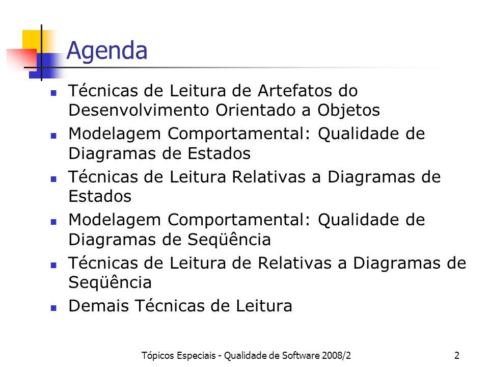 Tópicos Especiais - Qualidade de Software 2008/22 Agenda Técnicas de Leitura de Artefatos do Desenvolvimento Orientado a Objetos Modelagem Comportamen