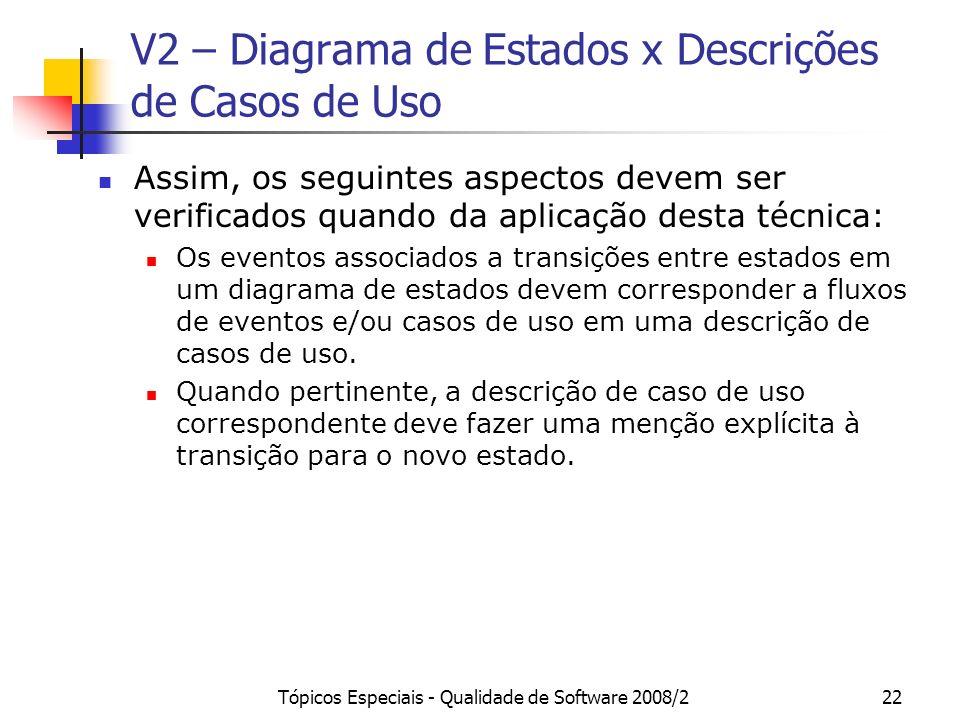 Tópicos Especiais - Qualidade de Software 2008/222 V2 – Diagrama de Estados x Descrições de Casos de Uso Assim, os seguintes aspectos devem ser verifi