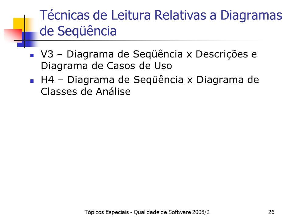Tópicos Especiais - Qualidade de Software 2008/226 Técnicas de Leitura Relativas a Diagramas de Seqüência V3 – Diagrama de Seqüência x Descrições e Di