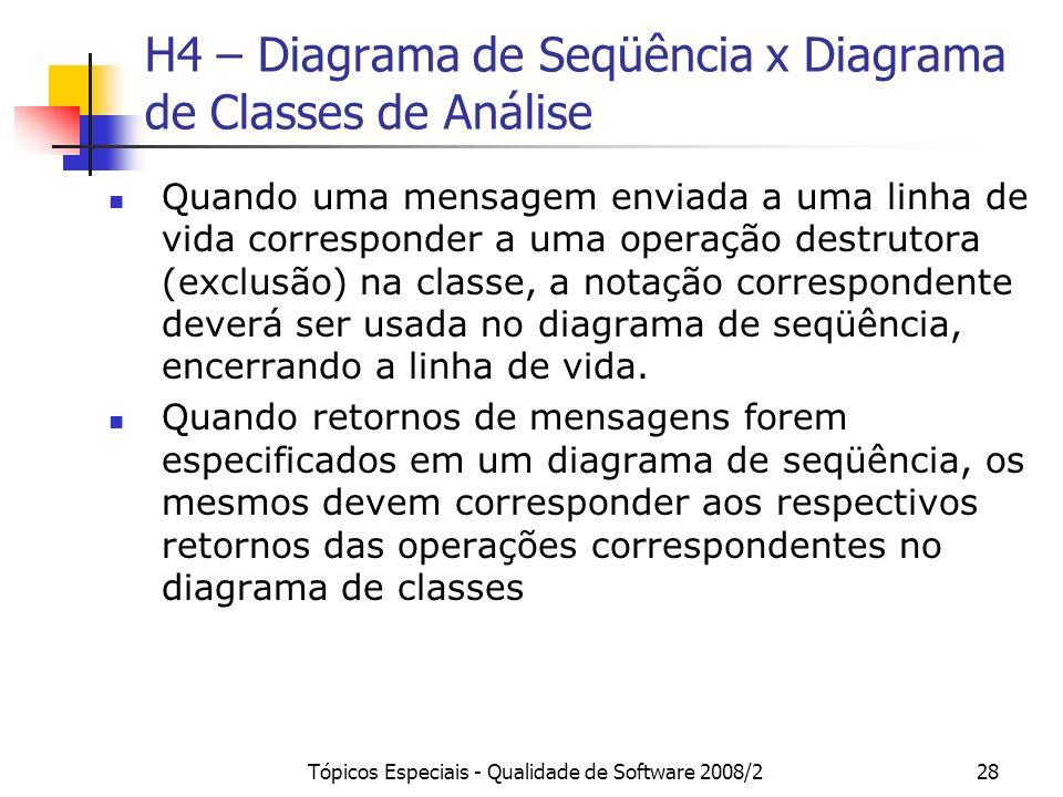 Tópicos Especiais - Qualidade de Software 2008/228 H4 – Diagrama de Seqüência x Diagrama de Classes de Análise Quando uma mensagem enviada a uma linha