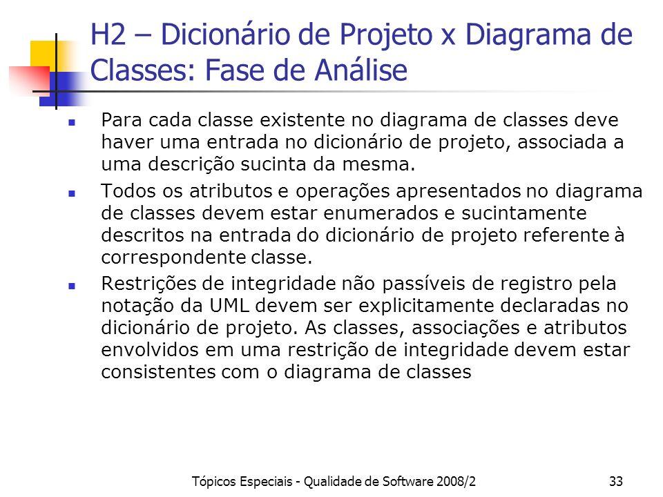 Tópicos Especiais - Qualidade de Software 2008/233 H2 – Dicionário de Projeto x Diagrama de Classes: Fase de Análise Para cada classe existente no dia