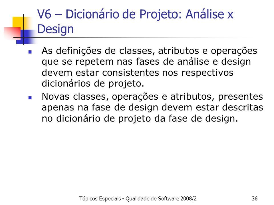 Tópicos Especiais - Qualidade de Software 2008/236 V6 – Dicionário de Projeto: Análise x Design As definições de classes, atributos e operações que se