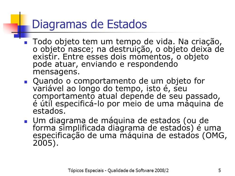 Tópicos Especiais - Qualidade de Software 2008/26 Máquina de Estados Uma máquina de estados especifica as seqüências de estados pelos quais um objeto passa durante seu tempo de vida em resposta a eventos, juntamente com as respostas a esses eventos (Booch et al., 2006).