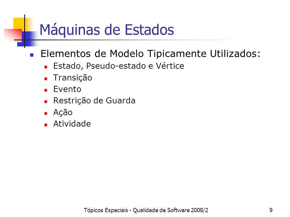 Tópicos Especiais - Qualidade de Software 2008/29 Máquinas de Estados Elementos de Modelo Tipicamente Utilizados: Estado, Pseudo-estado e Vértice Tran