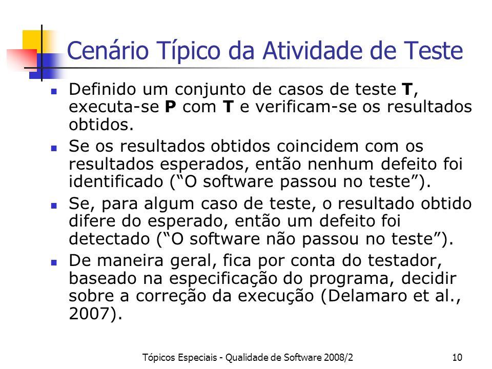 Tópicos Especiais - Qualidade de Software 2008/210 Cenário Típico da Atividade de Teste Definido um conjunto de casos de teste T, executa-se P com T e