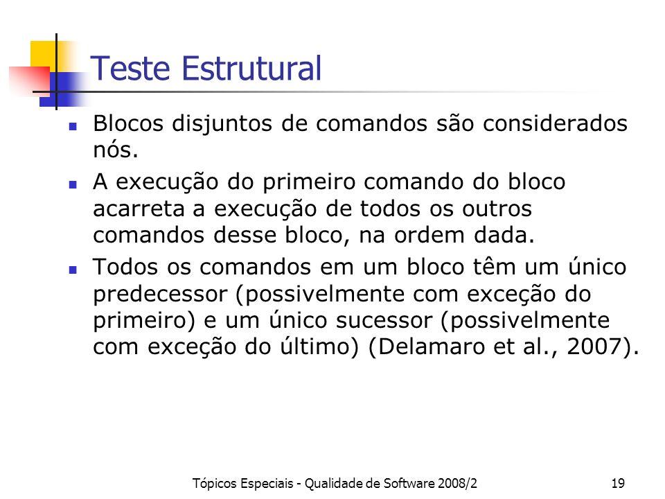 Tópicos Especiais - Qualidade de Software 2008/219 Teste Estrutural Blocos disjuntos de comandos são considerados nós. A execução do primeiro comando