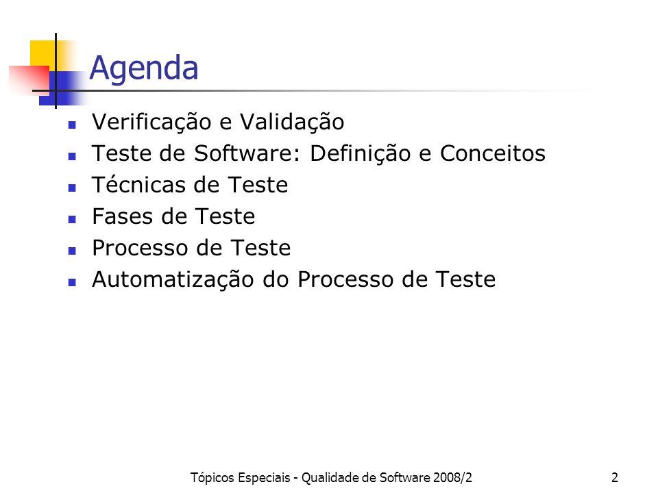 Tópicos Especiais - Qualidade de Software 2008/22 Agenda Verificação e Validação Teste de Software: Definição e Conceitos Técnicas de Teste Fases de T
