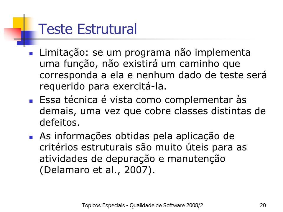 Tópicos Especiais - Qualidade de Software 2008/220 Teste Estrutural Limitação: se um programa não implementa uma função, não existirá um caminho que c