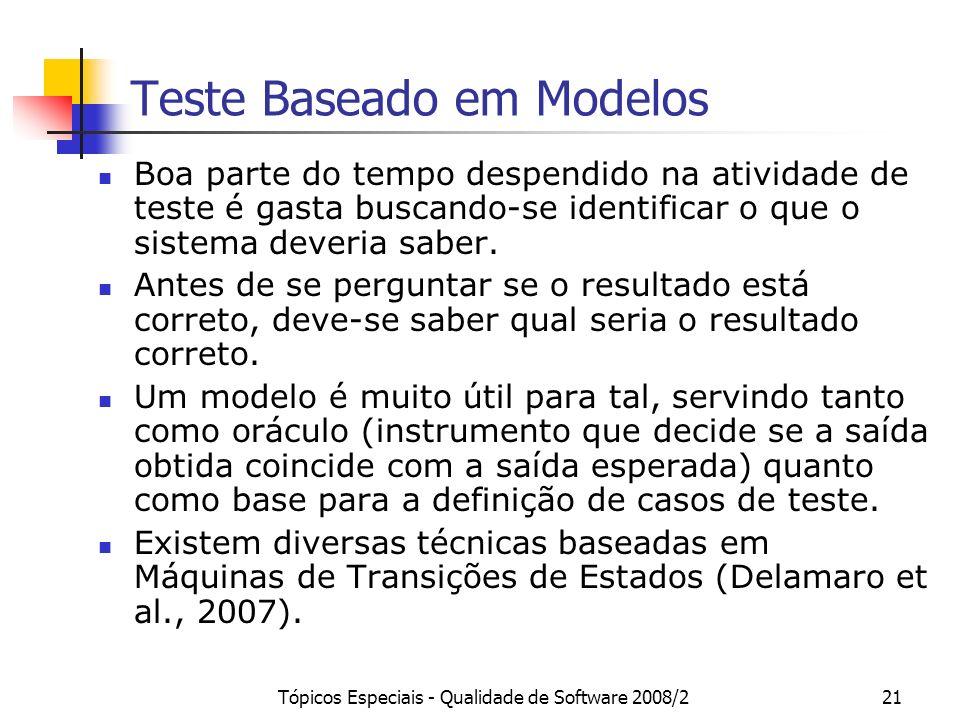 Tópicos Especiais - Qualidade de Software 2008/221 Teste Baseado em Modelos Boa parte do tempo despendido na atividade de teste é gasta buscando-se id