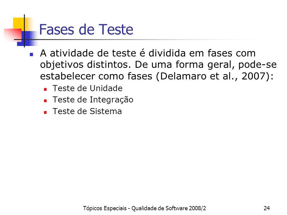 Tópicos Especiais - Qualidade de Software 2008/224 Fases de Teste A atividade de teste é dividida em fases com objetivos distintos. De uma forma geral