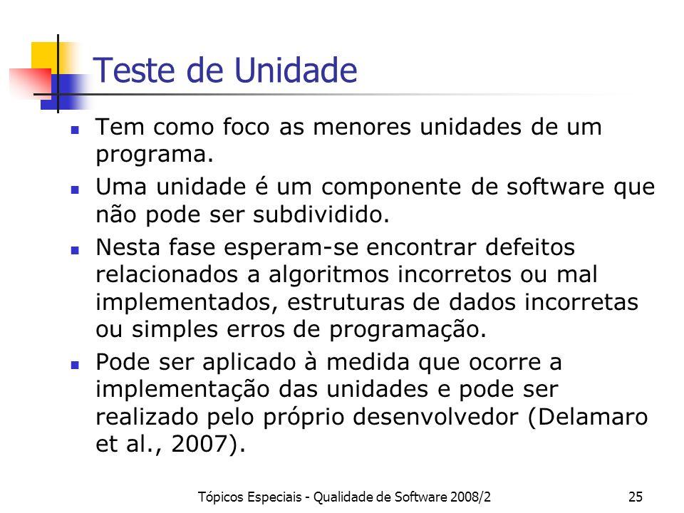 Tópicos Especiais - Qualidade de Software 2008/225 Teste de Unidade Tem como foco as menores unidades de um programa. Uma unidade é um componente de s