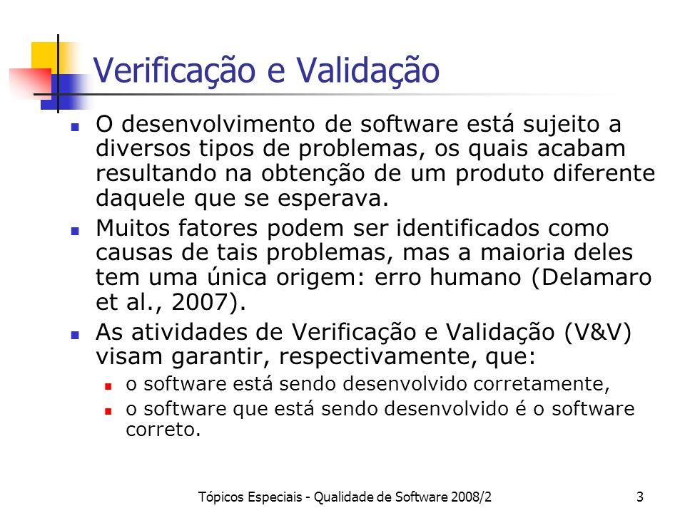 Tópicos Especiais - Qualidade de Software 2008/234 Referências Delamaro, M.E., Maldonado, J.C., Jino, M., Introdução ao Teste de Software, Série Campus – SBC, Editora Campus, 2007.