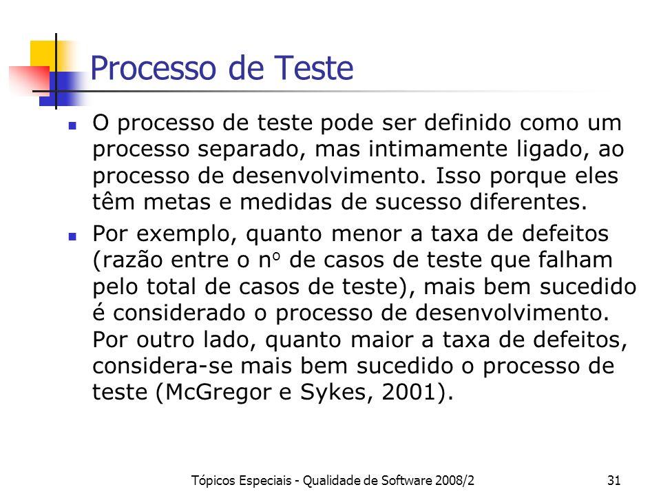 Tópicos Especiais - Qualidade de Software 2008/231 Processo de Teste O processo de teste pode ser definido como um processo separado, mas intimamente