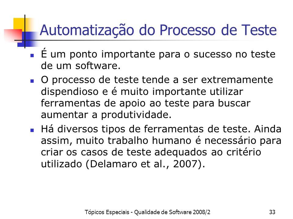 Tópicos Especiais - Qualidade de Software 2008/233 Automatização do Processo de Teste É um ponto importante para o sucesso no teste de um software. O