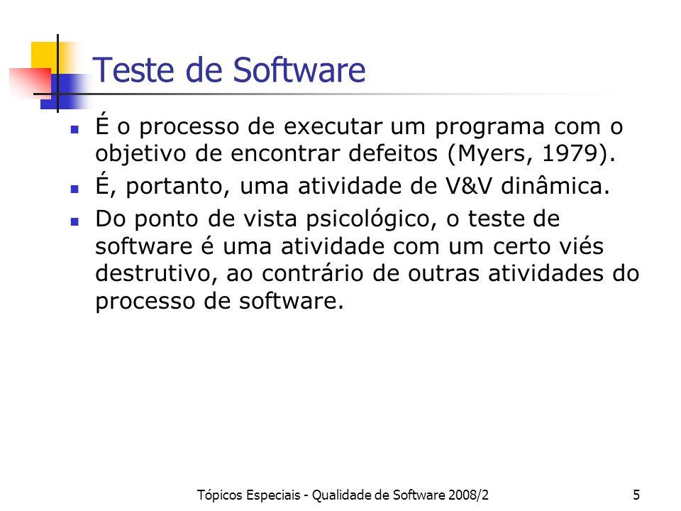 Tópicos Especiais - Qualidade de Software 2008/25 Teste de Software É o processo de executar um programa com o objetivo de encontrar defeitos (Myers,