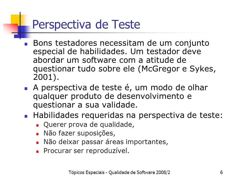 Tópicos Especiais - Qualidade de Software 2008/27 Perspectiva de Teste A perspectiva de teste requer que um fragmento de software demonstre não apenas que ele executa de acordo com o especificado, mas que executa apenas o especificado (McGregor e Sykes, 2001).