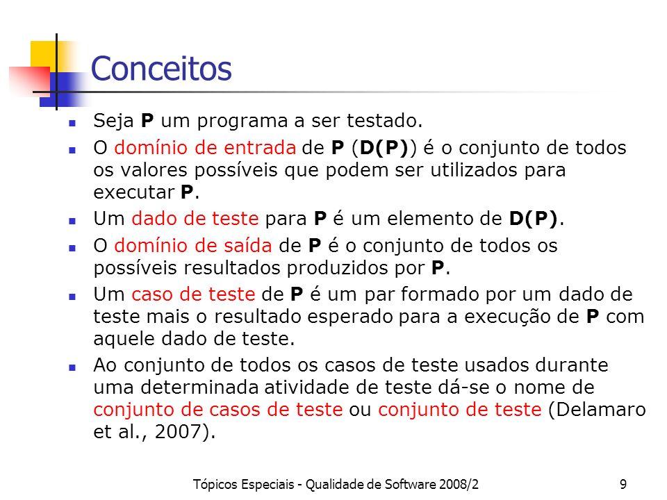 Tópicos Especiais - Qualidade de Software 2008/210 Cenário Típico da Atividade de Teste Definido um conjunto de casos de teste T, executa-se P com T e verificam-se os resultados obtidos.