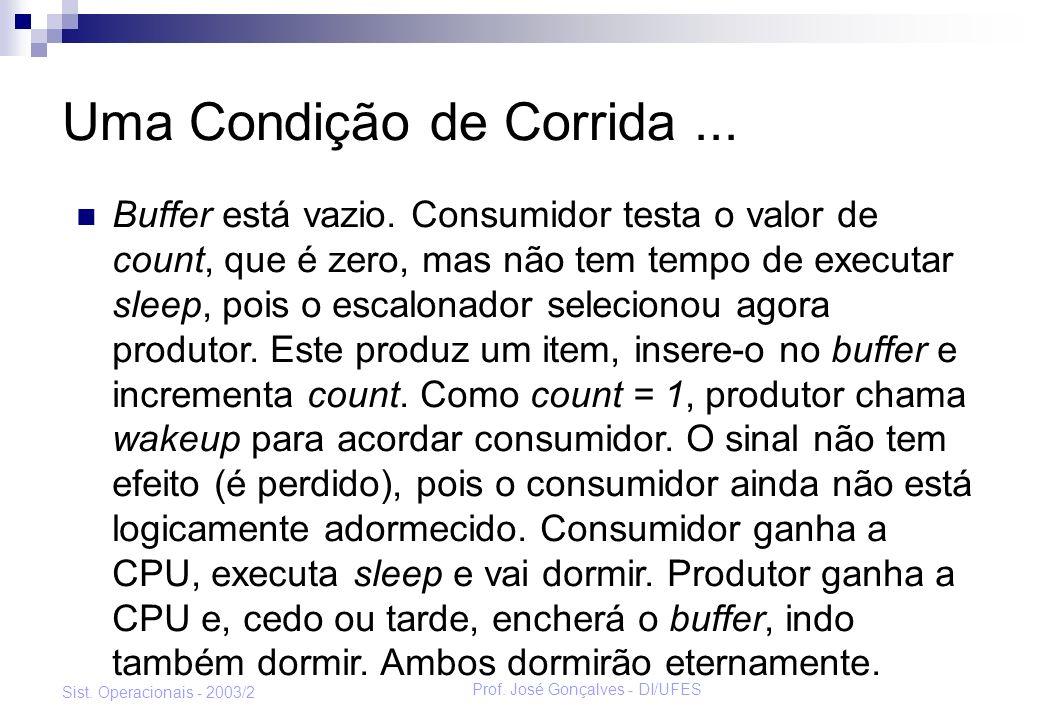 Prof. José Gonçalves - DI/UFES Sist. Operacionais - 2003/2 Uma Condição de Corrida... Buffer está vazio. Consumidor testa o valor de count, que é zero