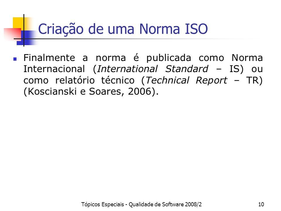 Tópicos Especiais - Qualidade de Software 2008/210 Criação de uma Norma ISO Finalmente a norma é publicada como Norma Internacional (International Sta