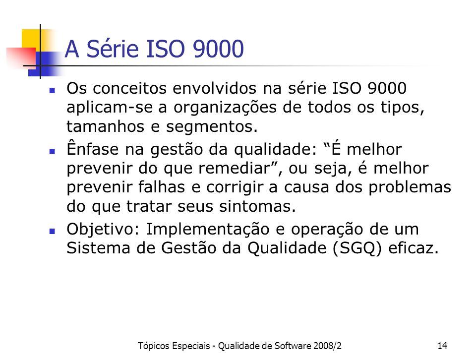 Tópicos Especiais - Qualidade de Software 2008/214 A Série ISO 9000 Os conceitos envolvidos na série ISO 9000 aplicam-se a organizações de todos os ti