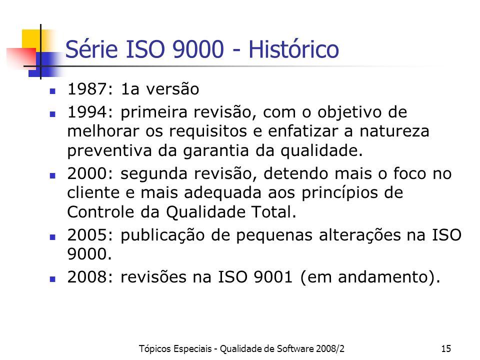 Tópicos Especiais - Qualidade de Software 2008/215 Série ISO 9000 - Histórico 1987: 1a versão 1994: primeira revisão, com o objetivo de melhorar os re