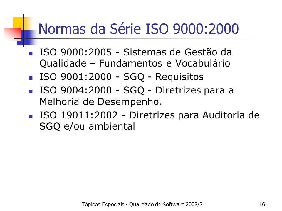 Tópicos Especiais - Qualidade de Software 2008/216 Normas da Série ISO 9000:2000 ISO 9000:2005 - Sistemas de Gestão da Qualidade – Fundamentos e Vocab